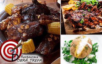 Bohatá hostina pro až 4 osoby v restauraci Dobrá Trefa. Tatarák, koleno, žebírka, řízečky a jiné dobroty!
