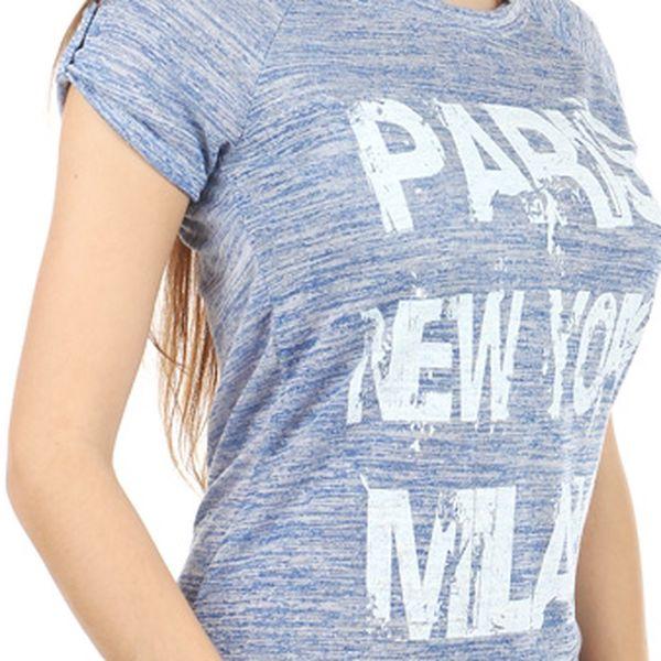 Moderní tričko s potiskem modrá