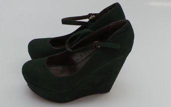 Dámské boty Mixer na platformě a klínku, tmavě zelené