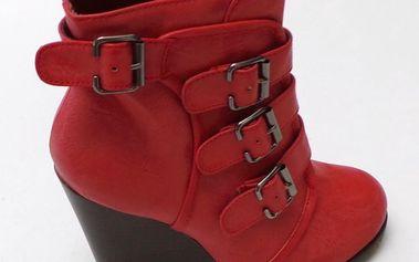 Dámské kotníkové boty na klínku Mixer, červené