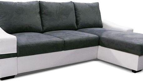 NODESIGN Akkaga rohová sedací rozkládací souprava, ekokůže bílá/Savana šedá P
