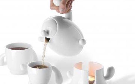Konvička na čaj s hrníčky a ohřevem Cactus
