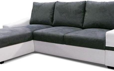 NODESIGN Akkaga rohová sedací rozkládací souprava, ekokůže bílá/Savana šedá L