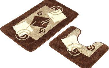 Euromat Sada koupelnových předložek Borneo hnědá, 80 x 50 cm, 50 x 40 cm