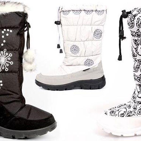 Pohodlné dámské sněhule s kožíškem a protiskluzovou podrážkou v různých barvách