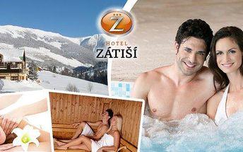 Špindlerův Mlýn - 3, 4 nebo 8 dní pro dva v krásném hotelu Zátiší***+! Bohatá polopenze, velká sleva na vstup do wellness, masáže i lyže a volný vstup do dětské herny i hřiště s trampolínou!