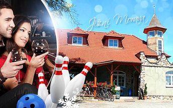 Jižní Morava pro 2 osoby na 3, 4 nebo 5 dní. Bohatá polopenze, 1x litr sudového vína a hodina bowlingu.