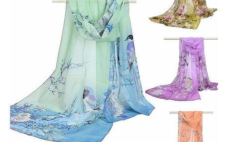 Jemný šifonový šátek - několik barevných variant