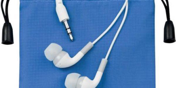 Špuntová sluchátka v modrém pouzdru - skladovka