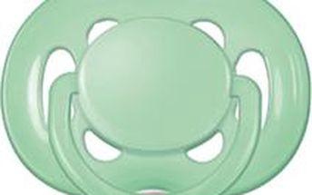 AVENT Zelený dudlík sensitive (silikon) - 6-18 měsíců