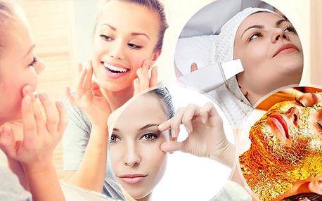 75min. ošetření pleti pro svěží vzhled - lifting lékařským přístrojem, ultrazvuková špachtle, sérum, zlatá maska!
