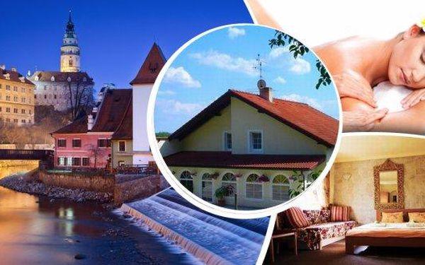 Romantika a rozmazlování v Českém Krumlově - pobyt na 3 nebo 6 dní ve Vile Maria pro 2 osoby se snídaněmi, k večeři 3chodové menu, soukromý vstup do sauny a do relaxačních bylinkových lázní a relaxační masáž! Nechte se hýčkat a odpočiňte si!