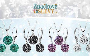 Kvalitní sada šperků z chirurgické oceli s českými krystaly! Náušnice, řetízek a přívěsek. Rozvoz po Plzni zdarma!