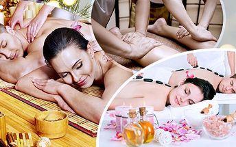 Vánoční balíček masáží pro 2 osoby! Lávové kameny, reflexní masáž, thajská, antistresová! Možnost odvozu!