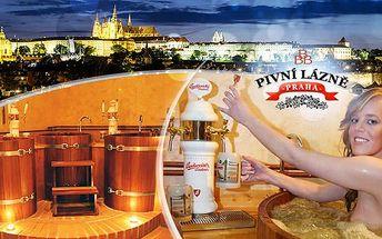 Originální koupel BBB pro 1 nebo 2 osoby s neomezenou konzumací piva od 1045 Kč! Pivní lázně Praha 1!