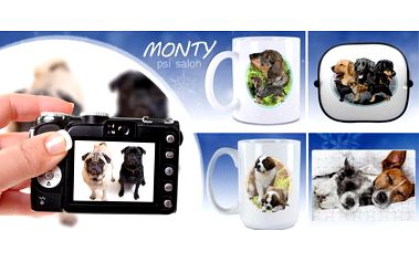 Hrnek, puzzle nebo stínítko do auta s fotografií Vašeho pejska nebo psů všech plemen dle výběru s možností přidání textu.