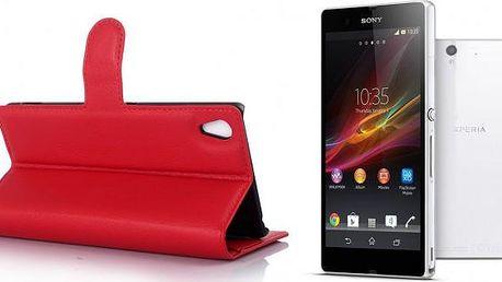 Kožené pouzdro na Sony Xperia Z4 + ZDARMA ochranná folie, chrání mobil před poškrábáním, nečistoty a poškozením otvory na fotoaparát a výstupy, obsahuje plastový držák!