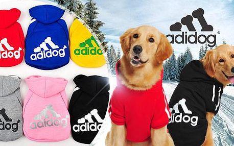 Hřejivá sportovní mikina pro větší psy Adidog včetně poštovného! Na výběr ze 4 barev a velikostí 3XL až 9XL.
