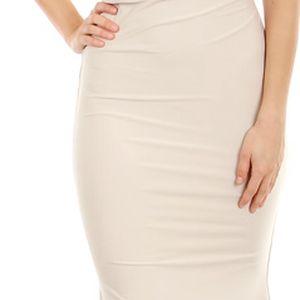 Krásné dlouhé společenské šaty béžová