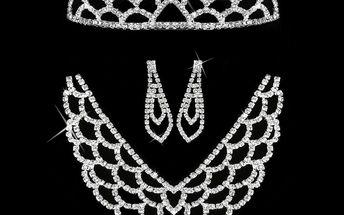 Štrasová sada MissBeauty náhrdelník, náušnice a korunka