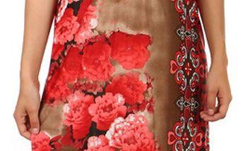 Dlouhé šaty s květinovým potiskem zelená