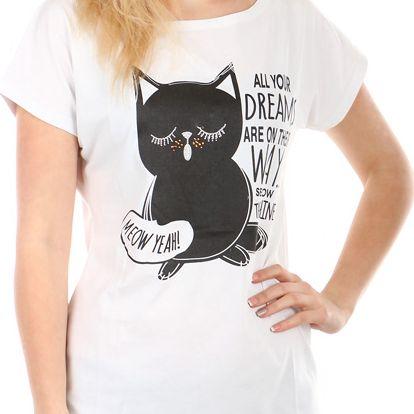 Moderní tričko s potiskem bílá