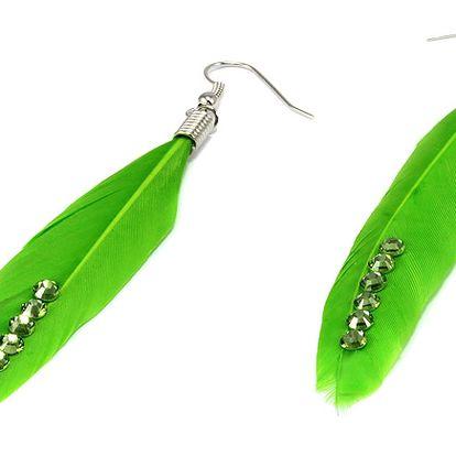 Peříčkové naušnice s kamínky zelená