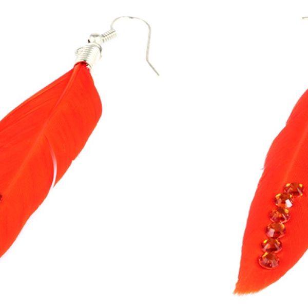 Peříčkové naušnice s kamínky oranžová