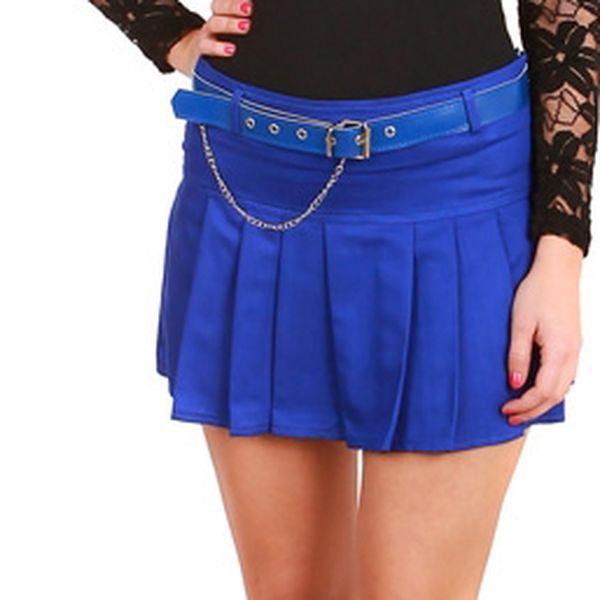 Dámská skládaná sukně modrá