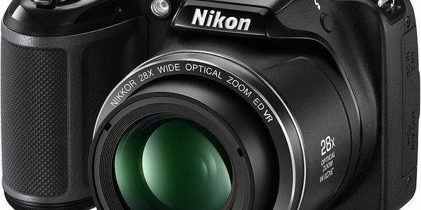 Nikon Coolpix L340, černá - VNA780E1 + Batoh LOAP Gill Color Cubes v ceně 699 Kč