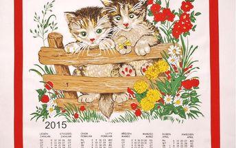 Forbyt Textilní kalendář 2015 Kočky, 45 x 65 cm