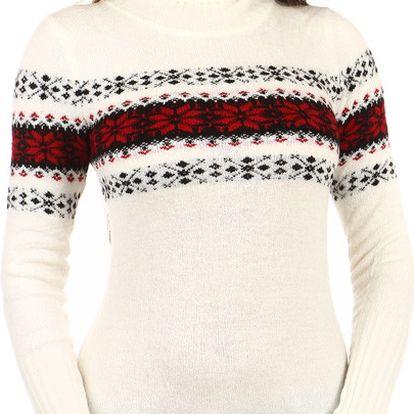 Delší svetr s rolákem a moderním vzorem bílá