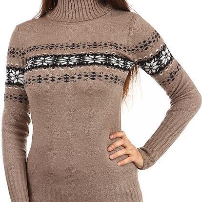 Delší svetr s rolákem a moderním vzorem hnědá