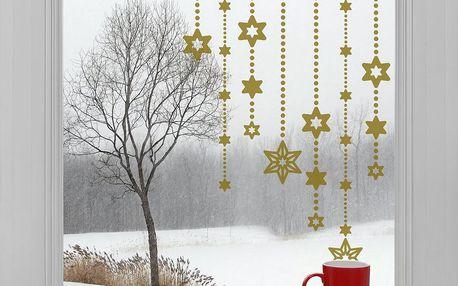 Elektrostatické vánoční samolepky Zlaté hvězdy