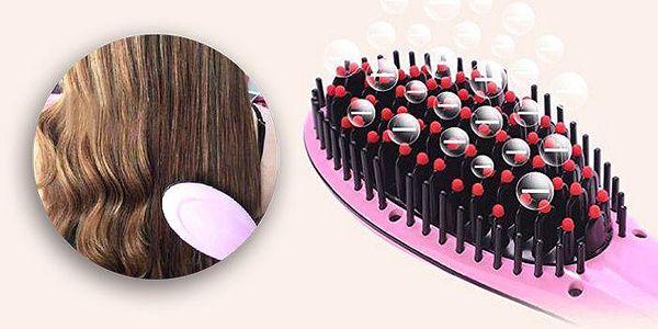 Keramická žehlička na vlasy s antistatickým hřebenem v jednom