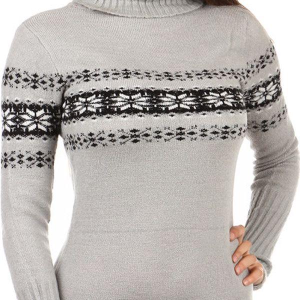 Krásný delší svetr s rolákem a s moderním vzorem světle šedá