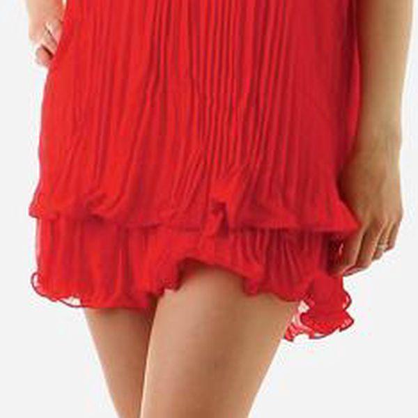 Dámské zajímavé sexy šaty za krk s perlama červená