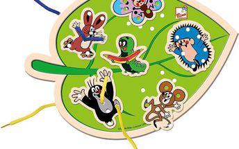 BINO Dřevěné hračky - Šití list - Krtek