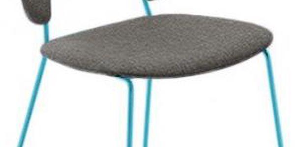 Traffic-t - Jídelní židle (lak tyrkysový mat, látka hnědá)