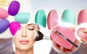 Růžový silikonový čistič kosmetických štětců - BrushEgg! 2 ks v balení, rychlé, snadné a efektivní použití!