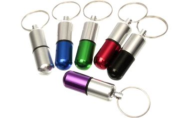 Úložný box na léky s kroužkem na klíče - stříbrná