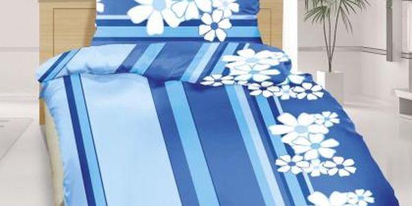 Povlečení krep 140x220 (modrý květ)