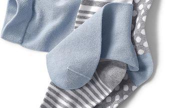 Tchibo, Ponožky, světle modré, šedo-bílý proužek a šedé s bílými tečkami růžové, tyrkysové a šedé s plameňáky