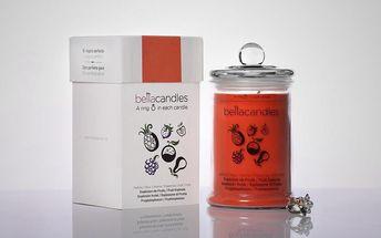 BELLACANDLES Ovocná exploze, 0,8kg vonná svíčka v každé svíčce stříbrný prsten