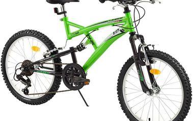 """DHS Climber 2042 20"""" zelené celoodpružené dětské kolo"""