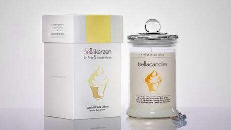 BELLACANDLES Vanilla-Coco Cream, 0,8kg vonná svíčka v každé svíčce stříbrný prsten