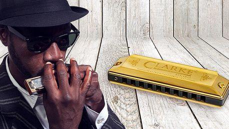 Bluesová foukačka Clarke v retro krabičce