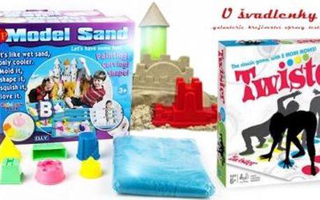 Kinetický písek 1 kg s bábovkami, či rodinná hra Twister. Zábava pro celou rodinou s možností os. odběru.