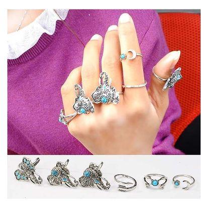 Sada šesti prstýnků ve vintage stylu