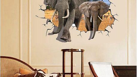 3D samolepka na zeď se slony - dodání do 2 dnů